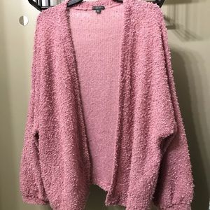 Sweaters - Rose Blush Pink Open Front Oversized Cardigan, M/L